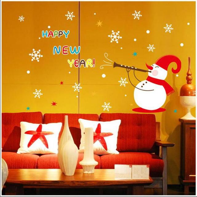 Hot Reusable Decorative Christmas Snowman Window Sticker Self Clings ...