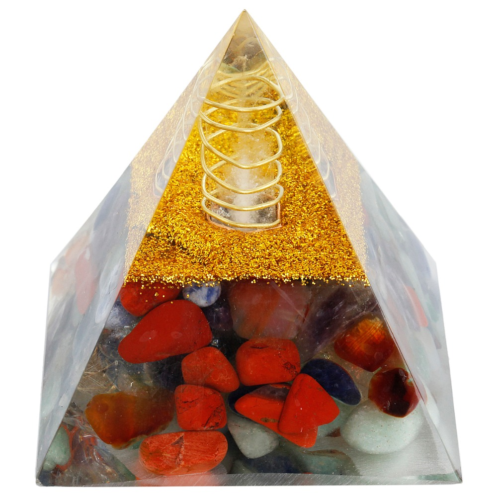 SUNYIK 7 Chakra Orgone Crystal Gem stone Pyramid Energy Generator for Reiki Healing Chakra Balancing 60mm northern europe old master cross seven chakra scepter cosmic energy crystal pendant marriage love career fortune official career