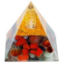 TUMBEELLUWA 7 Chakra Orgone Crystal Gem stone Pyramid Energy Generator for Reiki Healing Balancing 60mm