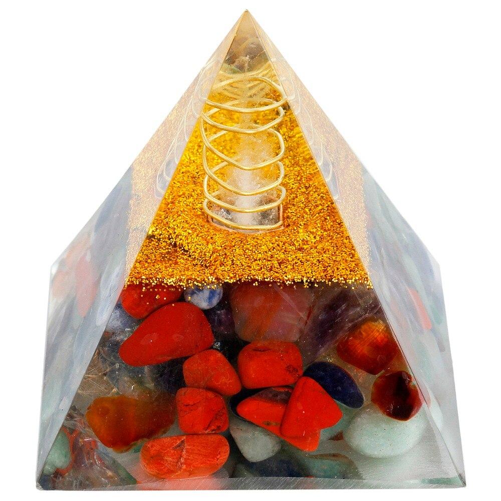 TUMBEELLUWA 7 Chakra Orgone Gemma di Cristallo Piramide di pietra Generatore di Energia per La Guarigione Reiki Chakra Bilanciamento 60mm