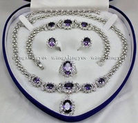 Beautiful! Natural Amethyst Inlay Link Bracelet earrings Ring Necklace Set AAA+ jade Crystal Jewelry