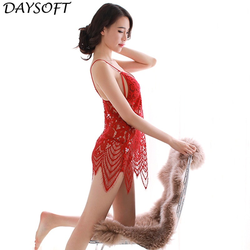 DAYSOFT Sleeveless Lace Nightgown SexyLingerie Night Dress Women Floral Mini Sleepwear H ...