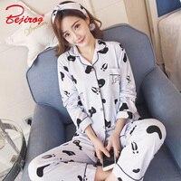 Bejirog 2018 Kadın Pijama Set Pamuk Pijama Rahat Gecelik Hayvan Baskı Kadın Nightie Uzun Kollu Gecelik Sonbahar Suit
