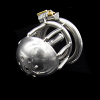 Stainless Steel New Penis Bondage Lock Male Chastity Device Cock Cage With Urethral Plug Catheter Cb6000s