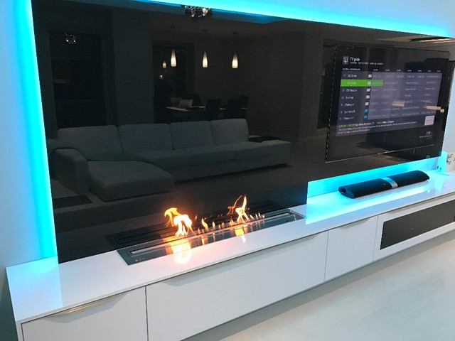 On 36 Inch Long Electric Fireplace Tv Stand With Remote Control