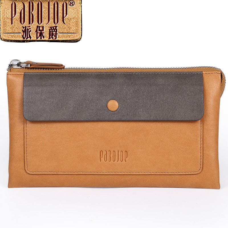 ФОТО pabojoe brand Men long wallet cow leather fashion purse 2017 new Matte skin clutch bag free shipping