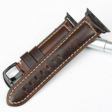 Watchband For Apple Watch Band 42mm 38mm Series 3/2/1 iWatch Vintage Oil Wax Leather Watch Strap With Black Pin Buckle