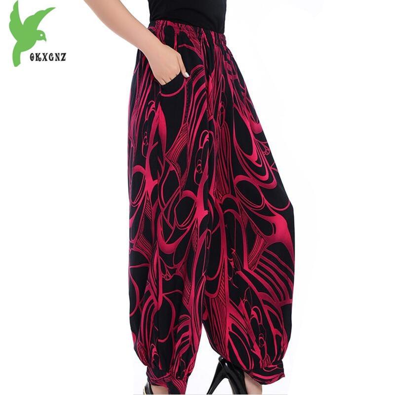 New Summer Women's   Wide     leg     pants   Plus size Fashion Print Cotton silk High waist Lantern   Pants   Elastic Waist Trousers OKXGNZ1656