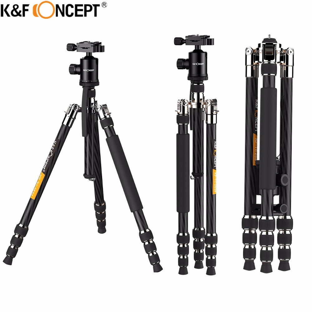 K&F CONCEPT Professional Portable Carbon Fiber 4-Sections Camera Tripod to Monopod+Ball Head+Carrying bag For DSLR SLR Camera benro a550fbh1 original tripod for slr camera reflexum professional tripod carbon fiber tripod functional monopod climbing stick