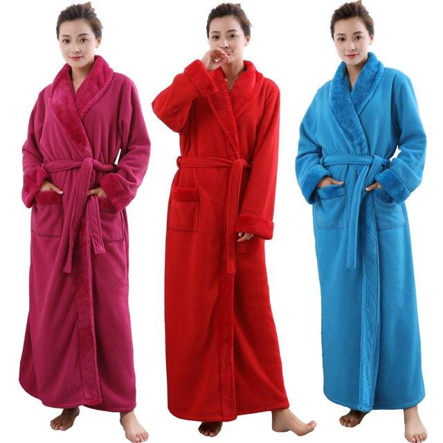 Women Men Extra Long Plus Size Thickening Fleece Thermal Bathrobe