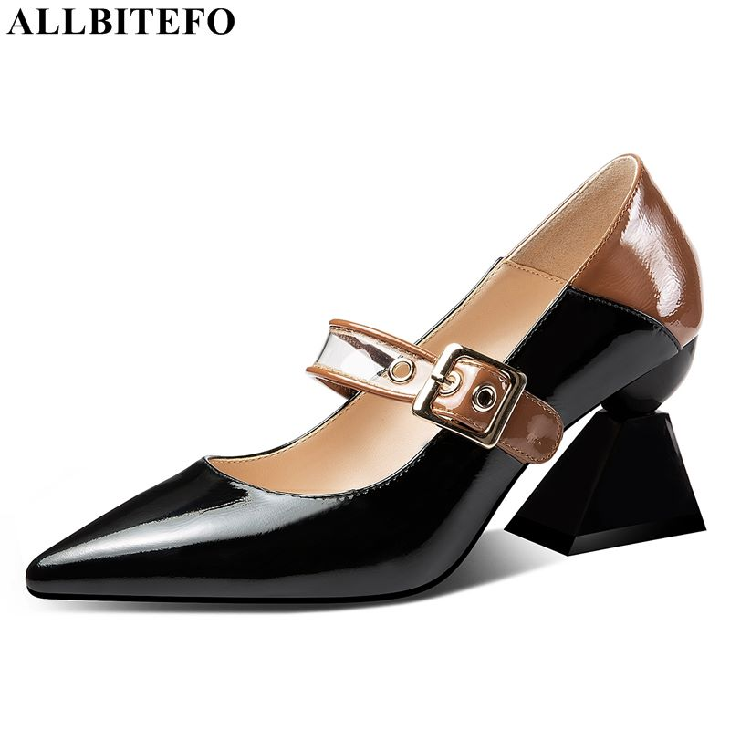 ALLBITEFO fashion brand genuine leather pointed toe high heels office ladies shoes high quality party women