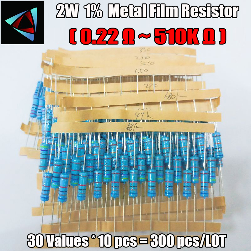 300 шт 0,22 ~ 510K Ohm 2W 10 значений * 10 шт = 300 шт комплект резисторов в ассортименте|resistor assorted kit|2w metal film resistorsmetal film resistor | АлиЭкспресс - Радиодетали
