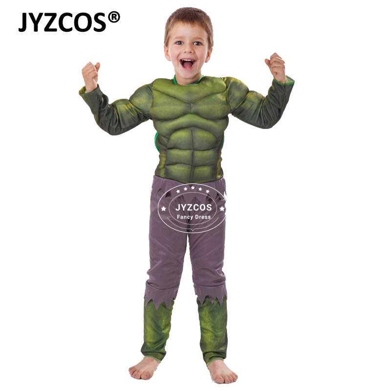 JYZCOS Kids Hulk Costume Halloween Costume Carnival Party Fancy Dress Boy Children Avengers Hulk Muscle Cosplay Clothing