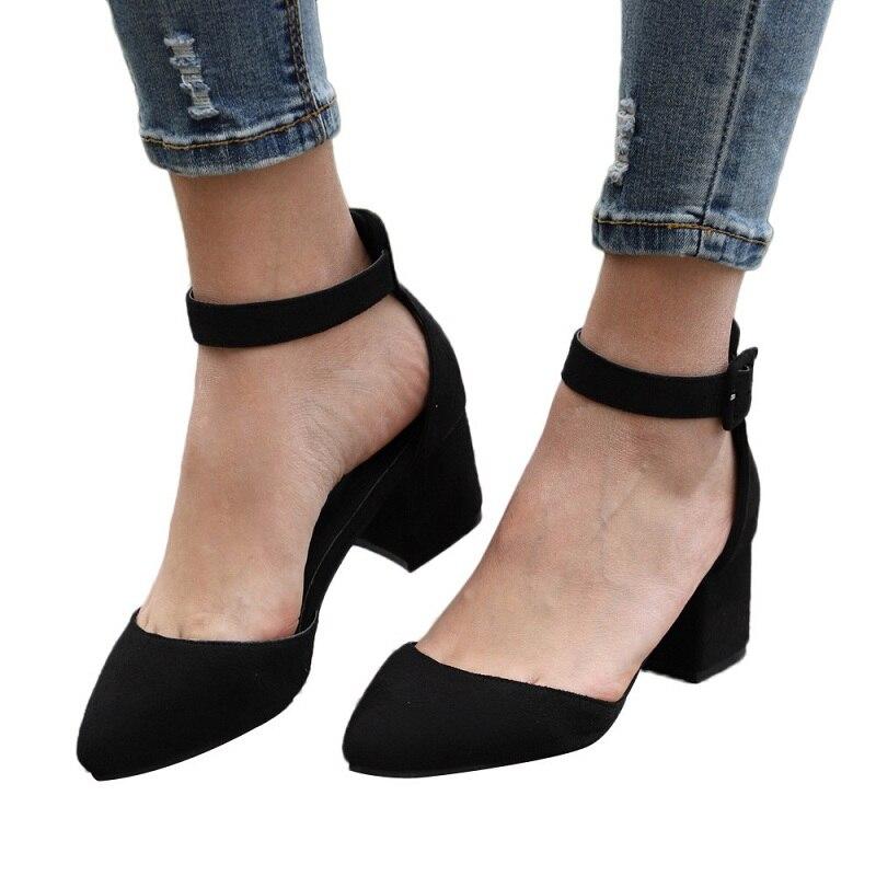 e2be82431d Gran Mujeres Mujer De Oficina Tacones Tamaño Zapatos dark Moda Correa Bombas  Las Punta Blue Nuevas ...