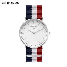 2017 Unisexe Hommes Femmes Montres Top Marque De Luxe CHRONOS Quartz Montre Nylon Rose Or Horloge Relojes Mujer Montre Femme Horloge