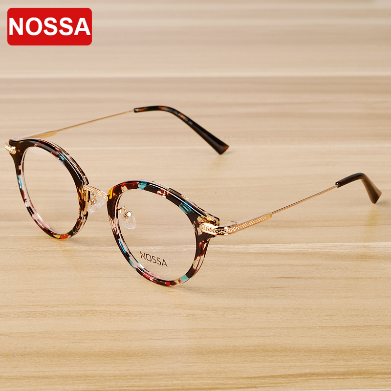 NOSSA Vintage Floral Glasses Frame Kvinnor Män Retro Glasögon Ramar Classic Unisex Optical Prescription Spectacle Frame Glasögon