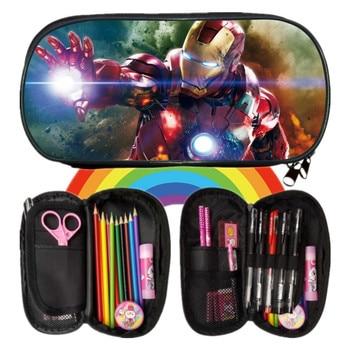 9297494724d 2018 nuevo Printin Cool Avengers Iron Man chicos de dibujos animados caja  de lápices bolsas escolares niños estudiante lápiz bolsa niños moneda  monederos