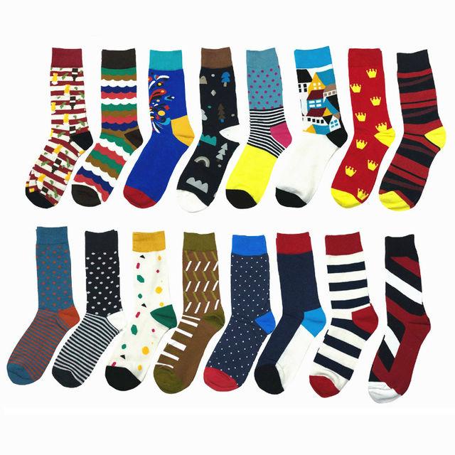 PEONFLY Colorful Striped Geometry Jacquard Multi Pattern Men Art Dress Socks Fashion Happy Funny Casual Cotton Socks Male Autumn