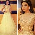 Árabe myriam Fares Lace Celebridades Vestidos 2016 Até O Chão Sem Mangas Appliqued Flores Evening Vestidos de Festa Vestidos Plus Size