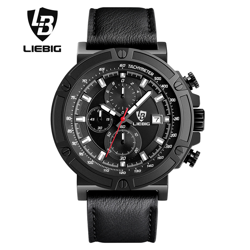 ФОТО LIEBIG Men's  Fashion Business Watches Water Resistant 50M Sport Quartz Watch Leather Strap Stop Watch Wristwatches 1014