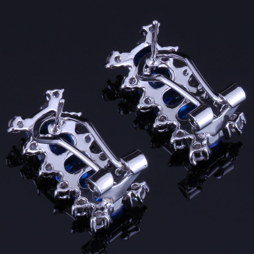 Shining Rectangle Blue Cubic Zirconia White CZ 925 Sterling Silver Clip Hoop Huggie Earrings For Women V0915 in Clip Earrings from Jewelry Accessories