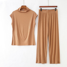 New High Stretch Ribbed Silk Pant Set Women Short Sleeve T-shirt + Waist Wide Leg Pants Suit Female Casual Two Pieces