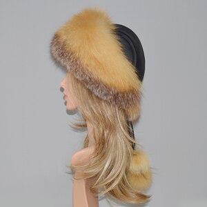 Image 5 - Sombrero de piel de zorro Real y Natural para mujer, sombrero de piel de zorro Real, sombreros de bombardero de piel, gorro de piel auténtica de zorro 2020