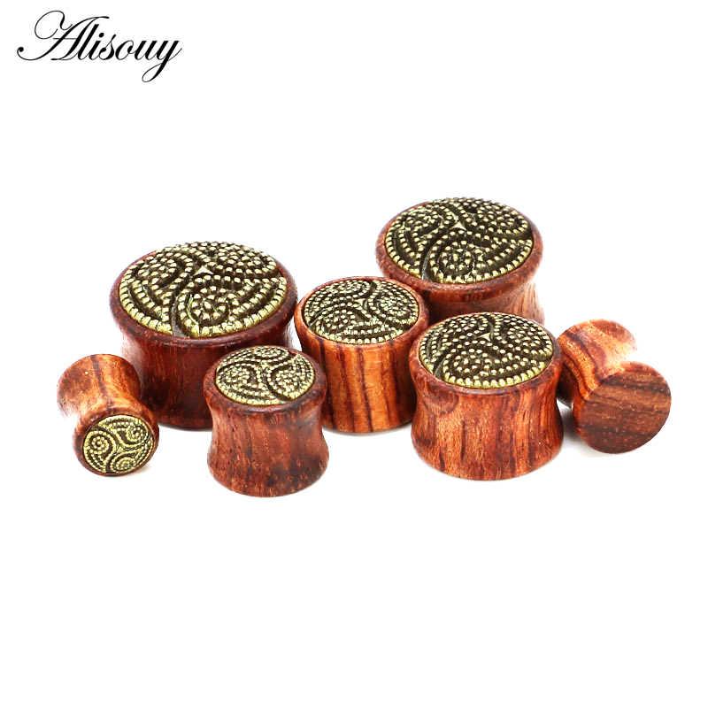 Nuevos dilatadores de oreja de madera de bambú Alisouy, 1 unidad, pendientes expansores de túnel para mujer y hombre