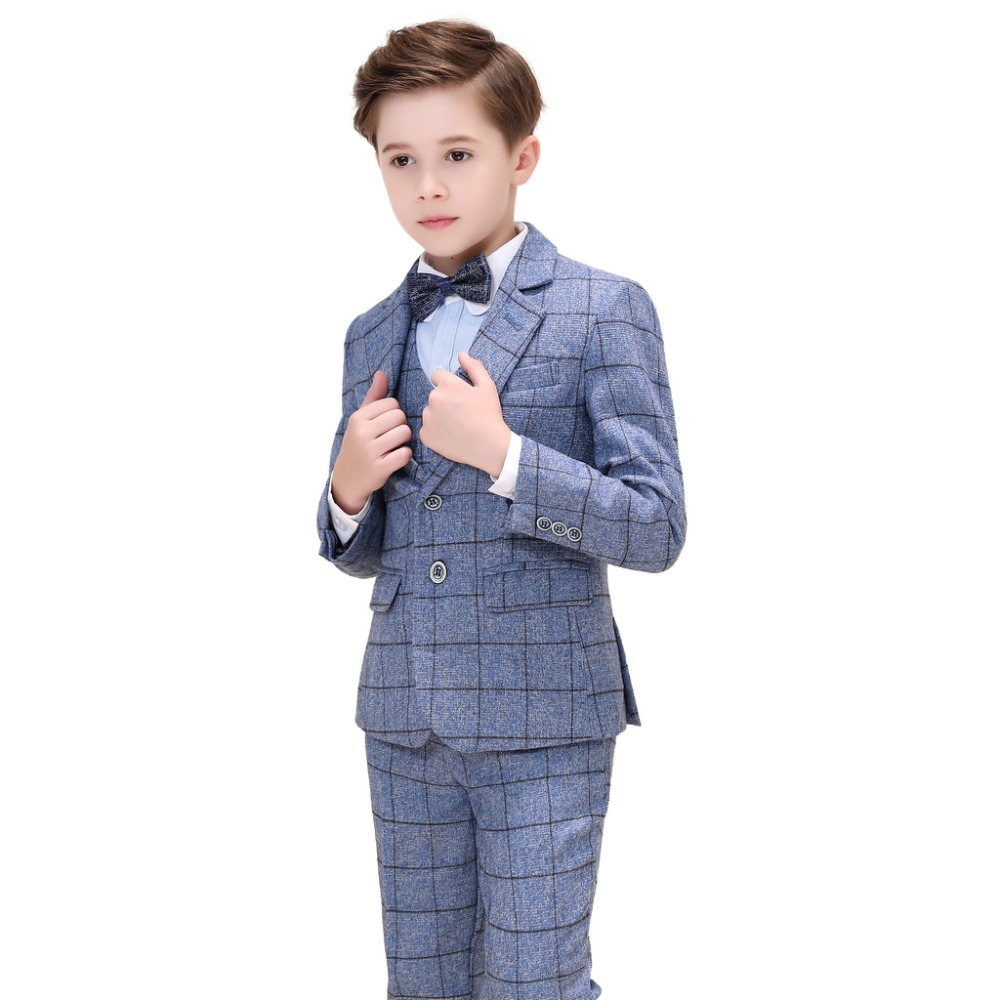 5 Piece Boys Grey Suits Slim Fit Ring Bearer Blue Suit For Boys Formal Classic Costume Weddings цена 2017