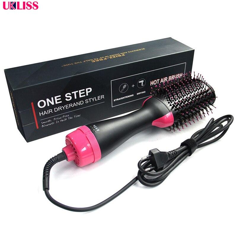 um passo escova de cabelo ar quente volumizer secador alisador paddle multifuncional escova de cabelo quente