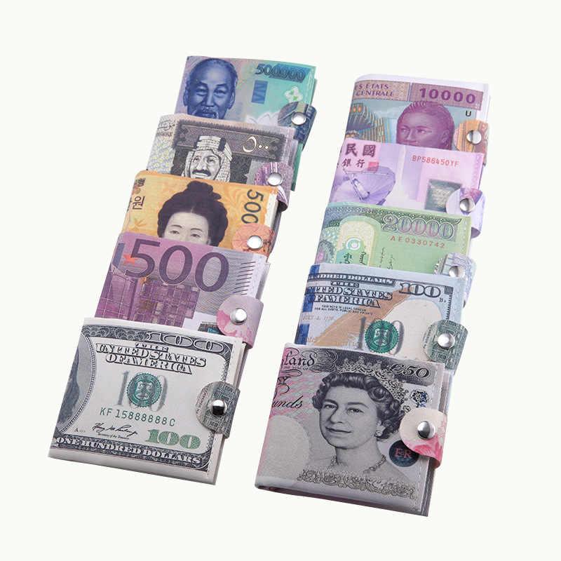 2018新しい紙マネークリップ男性キャンバスドルユーロ短い女性財布スリム薄いミニ財布2を折る漫画安いギフトコインバッグ