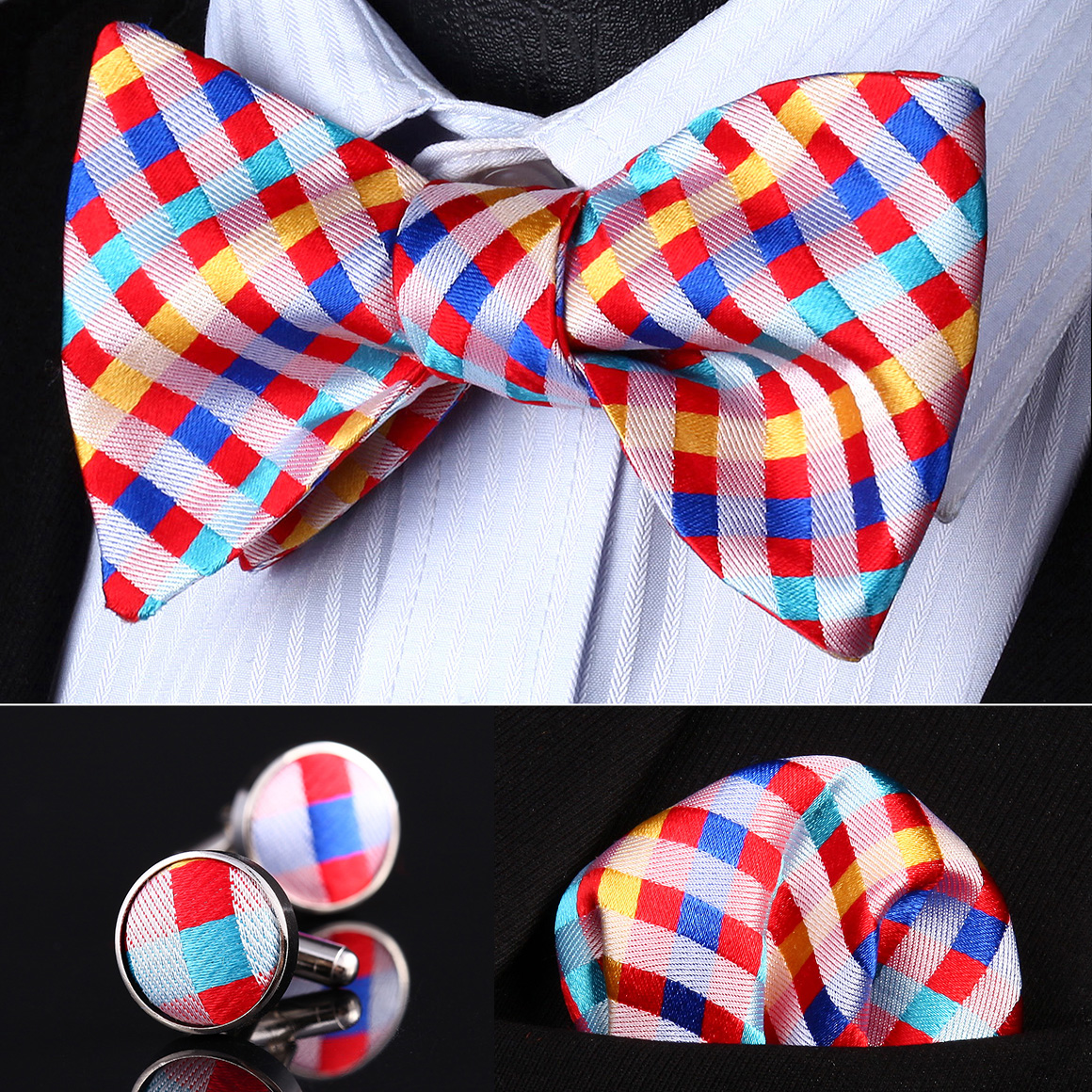 Pocket Square Classic Party Wedding BZC03N Red Yellow Check Men Silk Self Bow Tie handkerchief Cufflinks set