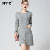 SFFZ Women Fashion Wool Blend Sweaters Casual Long Sleeve O Neck Irregular Knitted Dresses for Lady Autumn Winter Warm Dress