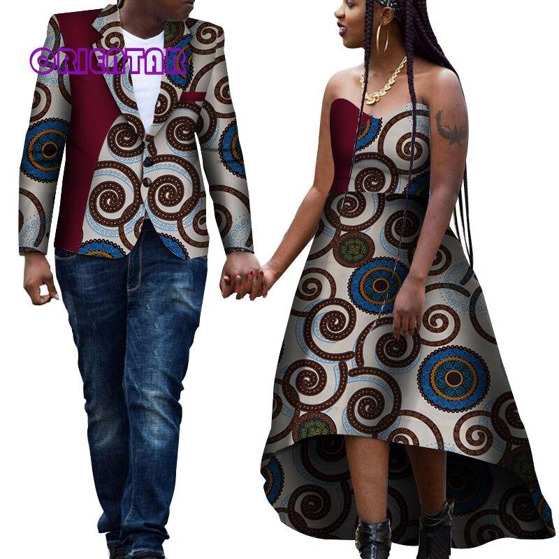 АФРИКАНСКИЕ ОДЕЖДА для пары Для женщин бальное платье и мужские спортивные пиджаки африка печати с открытыми плечами нарядные платья для с