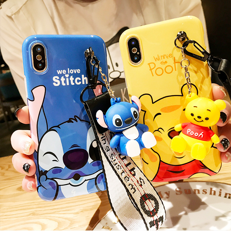 Funda para iPhone 7 7 plus Stitch, funda trasera Linda Winnie bear para iPhone XR XS Max X 8 8 plus 6 6 s 6 P + soporte + correa