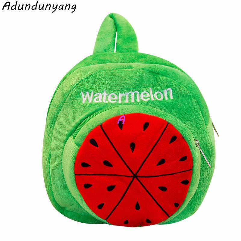 2a955b29deee 2018 Cartoon Plush Backpack Kindergarten Schoolbag Children 3D friut  watermelon kids School bag For Boy Girl