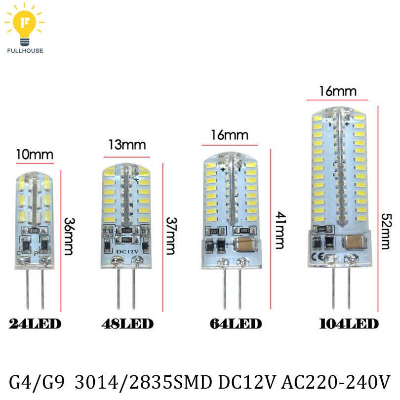 1pcs/Lot   G4 LED 12V 220V 3W 7W 9W 12w Led Lamp LED Bulb 24LED 48led 64LED 104led lamp 360 Beam Angle LED Crystal lamp