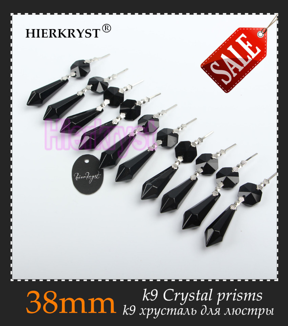 HIERKRYST 10 Pcs/lot Black Chandelier Glass Crystals Lamp Prisms Parts Icicle Hanging Pendants 38mm 1.49