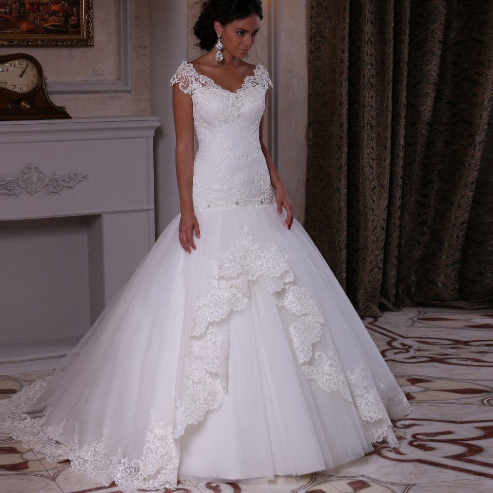 Robe De Mariee Mermaid Wedding Dresses 2015 Custom Made V Neck Lace