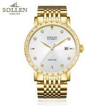 Famous SOLLEN Brand watch Men Business Strip Automatic Mechanical Strap Calendar clock Midea High End Movement wristwatches
