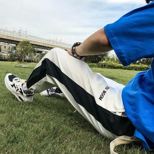 Plus Size Oversized Patchwork Contrast Stripe Block Fashion Hiphop Letter Print Harem Jogger Trouser Track Pant Korean Homme New 4