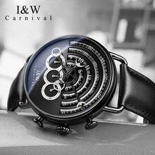 2017 CARNIVAL I&W Avant Sport BigDial Quartz Men Watch TopBrand Luxury Steampunk Sapphire Mirror Black Leather Waterproof Montre цены