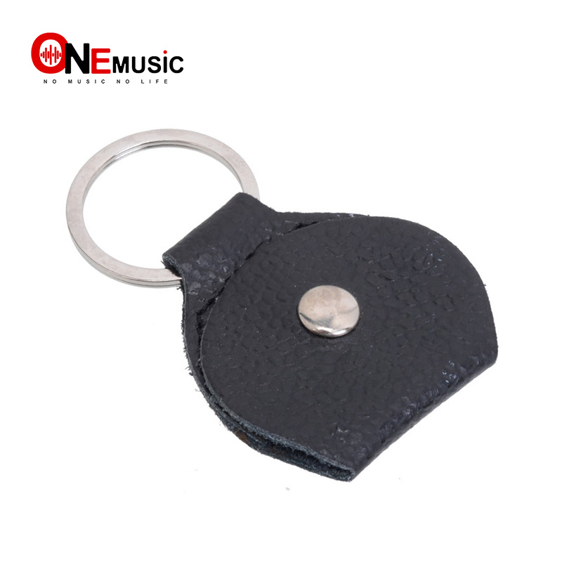 100 pcs Top Quality Guitar Pick Holder Genuine Leather Guitarra Plectrum Case Bag Keychain Shape Guitar Accessories image