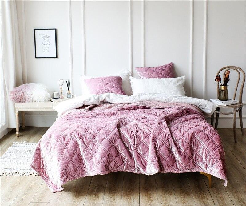 Couvre lit en tissu polaire de Style européen de luxe taies d'oreiller drap de lit couverture de lit colchas para cama couvre lit-in Ensembles de literie from Maison & Animalerie    2