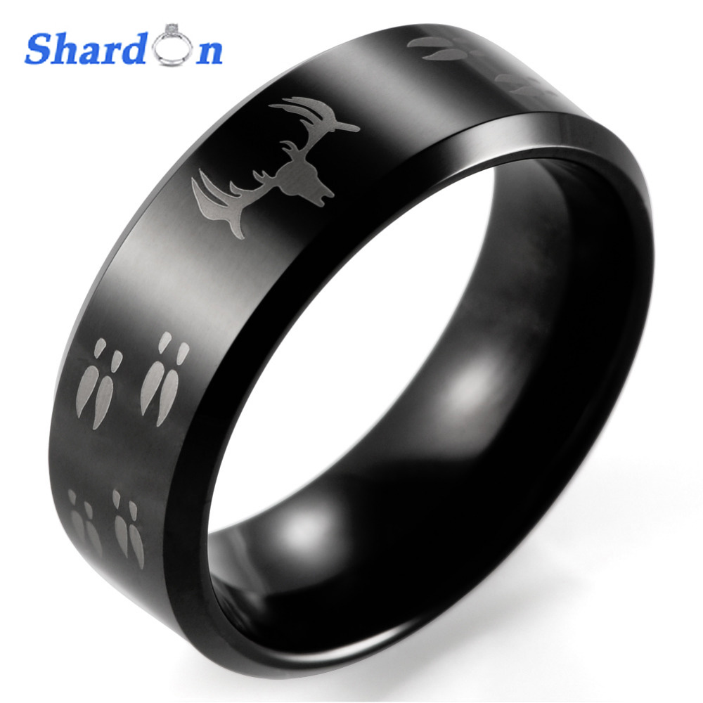 SHARDON Wedding Jewelry Rings round Etched Deer Head Hunting Black Tungsten Ring Men's Wedding Band rings with frees shipping