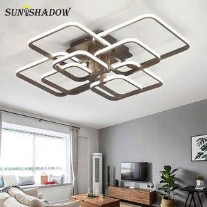 Image 2 - לבן & קפה טבעות מודרני LED נברשת לסלון חדר שינה בית נברשת תקרת גופי אקריליק Led נברשת מנורה