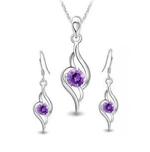 2016 hot sell fashion 925 sterling silver jewelry sets drop earrings 45cm pendant necklaces wholesale in Jewelry Sets from Jewelry Accessories