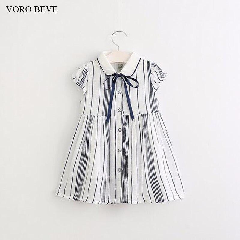 VORO BEVE New fashion girl dress kids princess dress striped dress for girls 2 colors bow