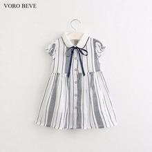 VORO BEVE Nouvelle mode fille robe enfants princesse robe rayé robe pour les filles 2 couleurs arc enfants robes