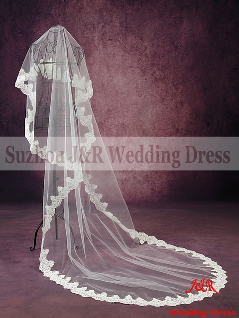 Free Shipping 100% High Quality Soft Netting Ivory Cording Lace Edge 3-Meter Long Cathedral Bridal Veil Wedding Accessories